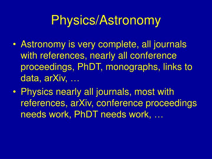 Physics/Astronomy