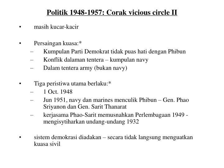 Politik 1948-1957: Corak vicious circle II