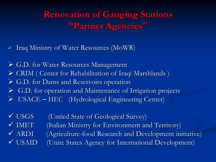 Renovation of Gauging Stations