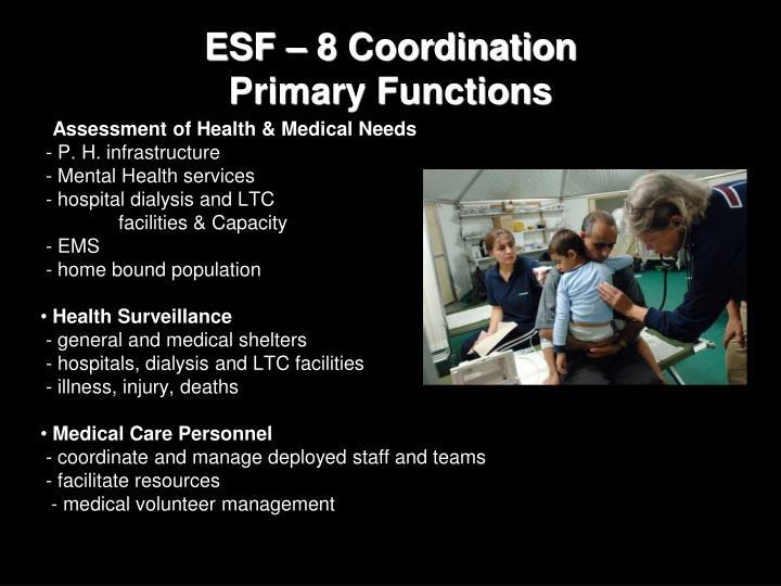 ESF – 8 Coordination