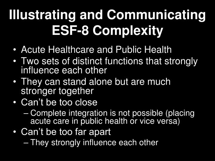 Illustrating and Communicating ESF-8 Complexity