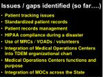 issues gaps identified so far1