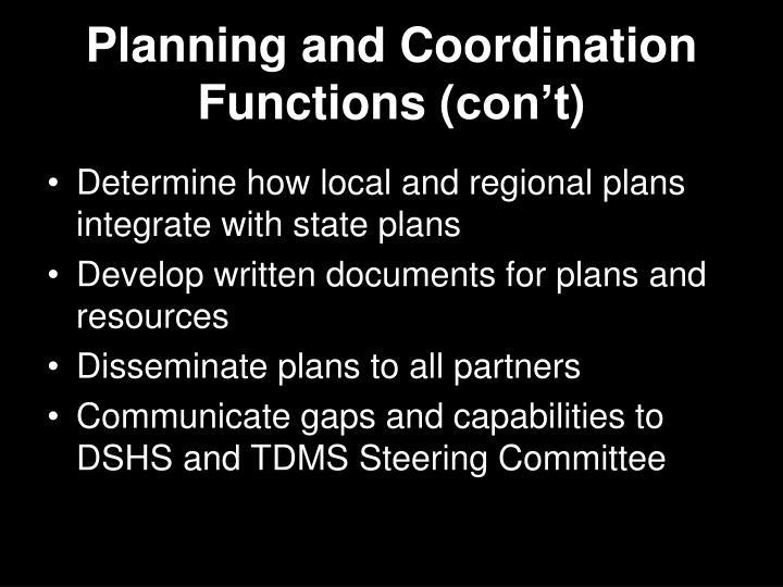 Planning and Coordination Functions (