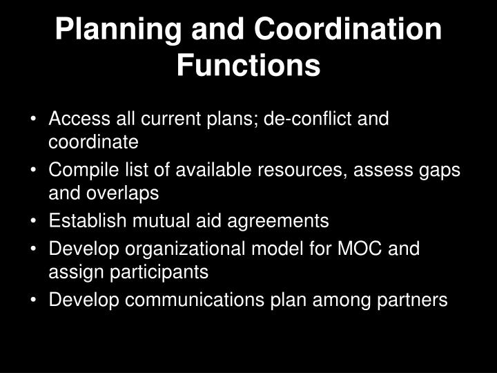 Planning and Coordination Functions