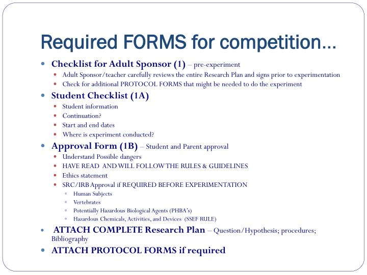 Required FORMS for competition