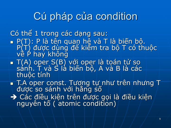 Cú pháp của condition