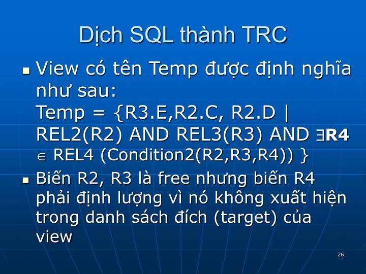Dịch SQL thành TRC