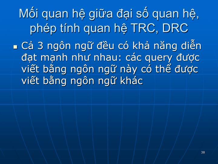 Mối quan hệ giữa đại số quan hệ,  phép tính quan hệ TRC, DRC