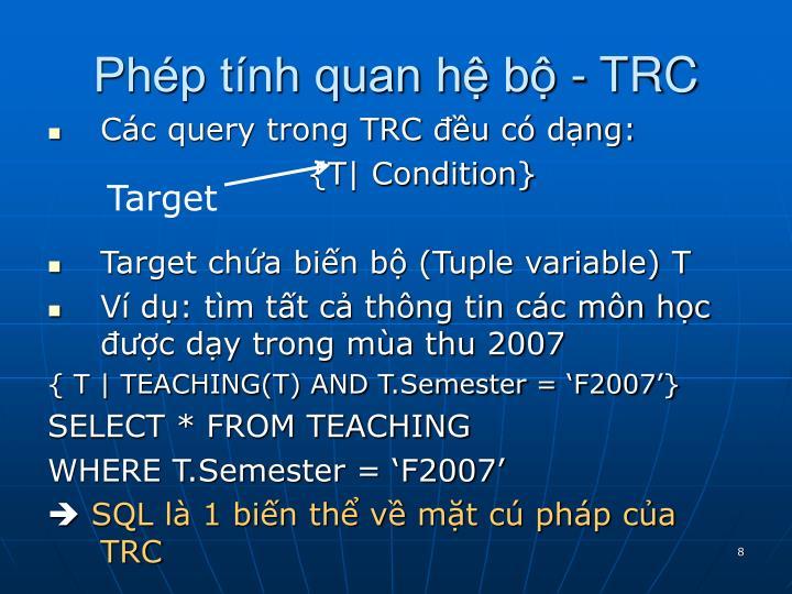 Phép tính quan hệ bộ - TRC