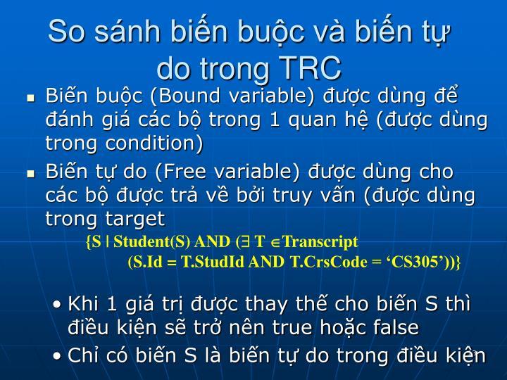 So sánh biến buộc và biến tự do trong TRC