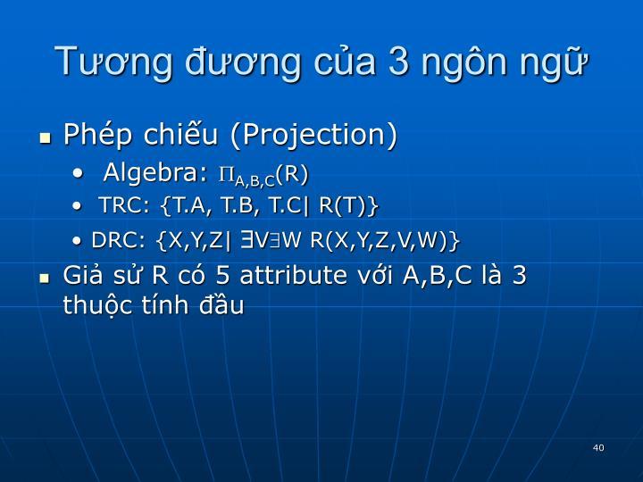 Tương đương của 3 ngôn ngữ