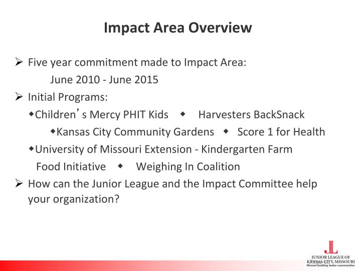 Impact Area Overview