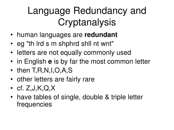 Language Redundancy and Cryptanalysis