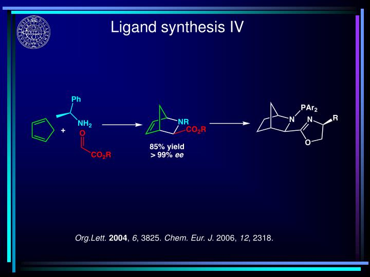 Ligand synthesis IV