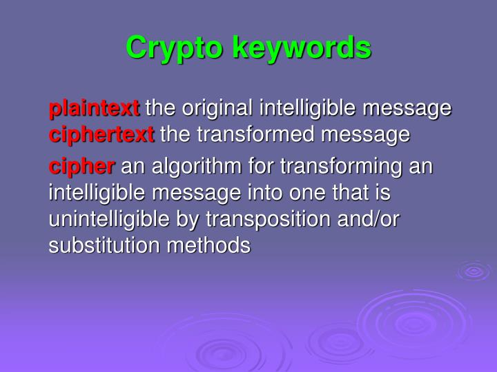 Crypto keywords