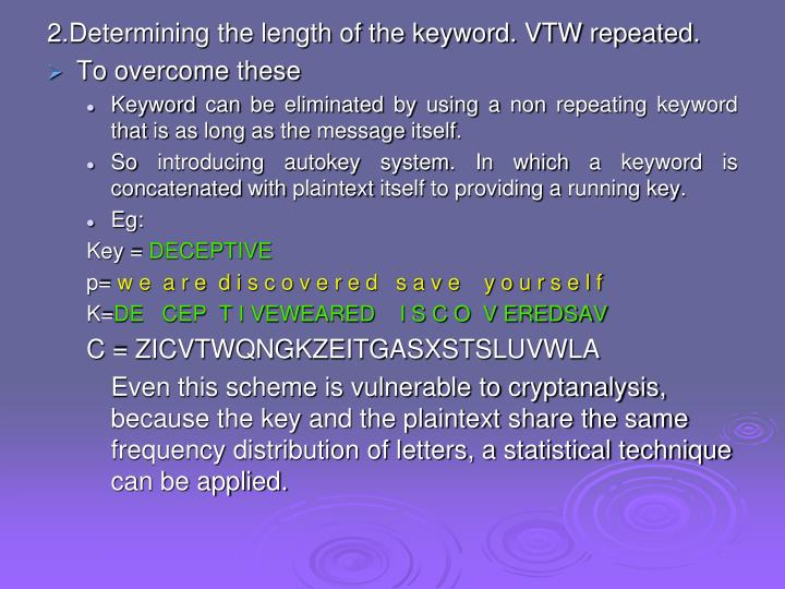 2.Determining the length of the keyword. VTW repeated.