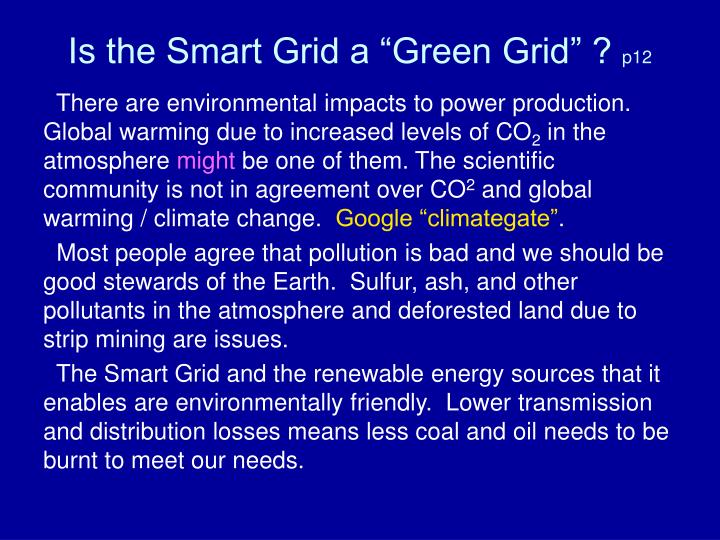 "Is the Smart Grid a ""Green Grid"" ?"