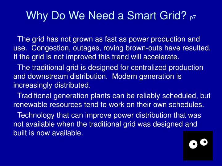 Why Do We Need a Smart Grid?