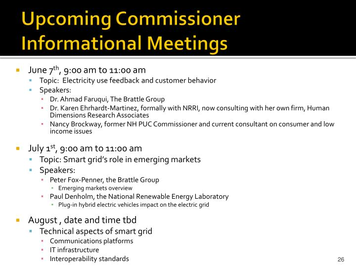 Upcoming Commissioner Informational Meetings