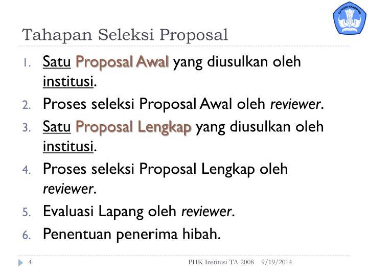 Tahapan Seleksi Proposal