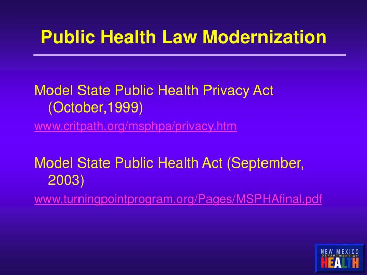 Public Health Law Modernization