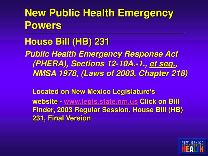 New Public Health Emergency Powers