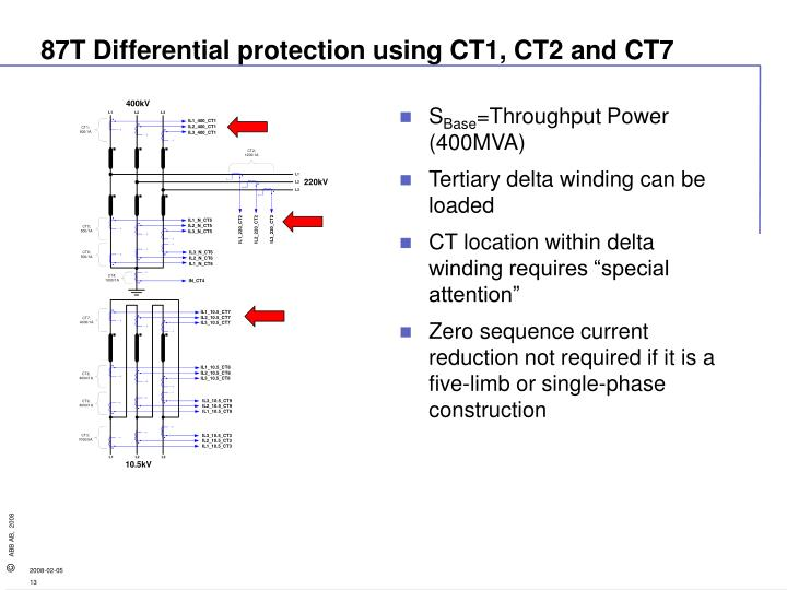 87T Differential protection using CT1, CT2 and CT7