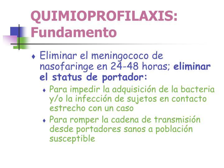 QUIMIOPROFILAXIS: Fundamento