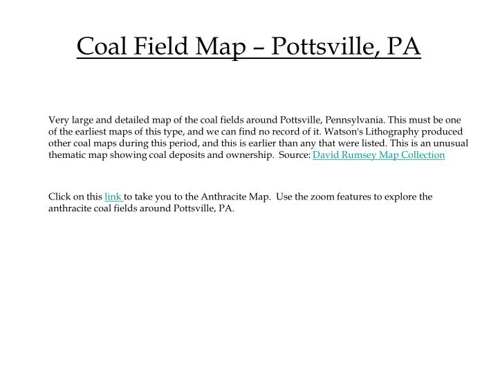 Coal Field Map – Pottsville, PA