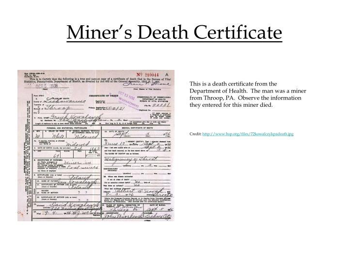 Miner's Death Certificate