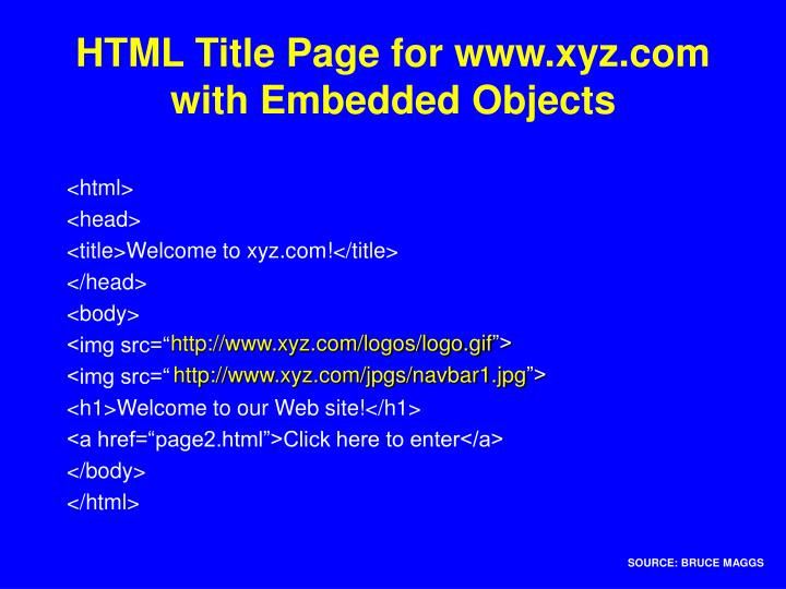 HTML Title Page for www.xyz.com
