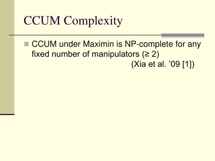 CCUM Complexity