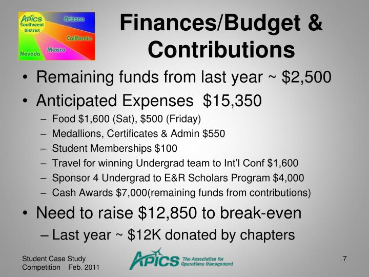 Finances/Budget & Contributions