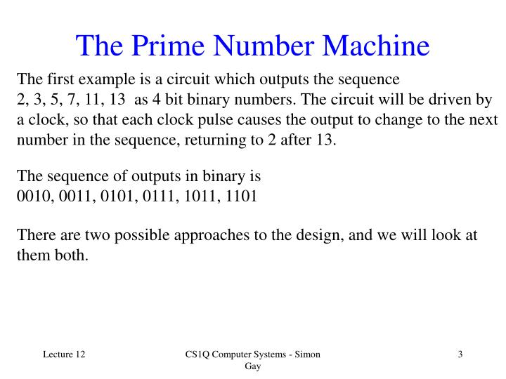 The prime number machine