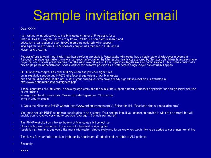 Sample invitation email