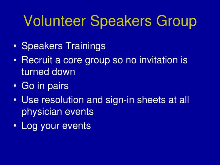 Volunteer Speakers Group