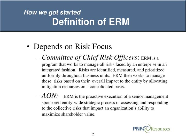 How we got started definition of erm
