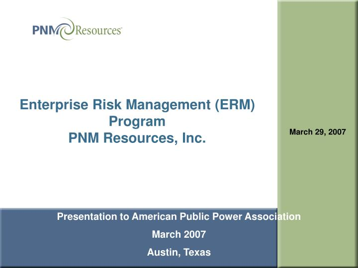 Enterprise Risk Management (ERM) Program