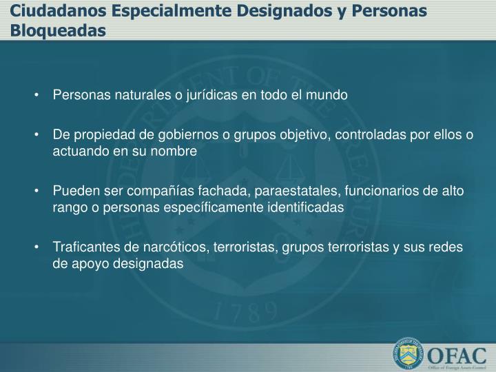 Ciudadanos Especialmente Designados y Personas Bloqueadas