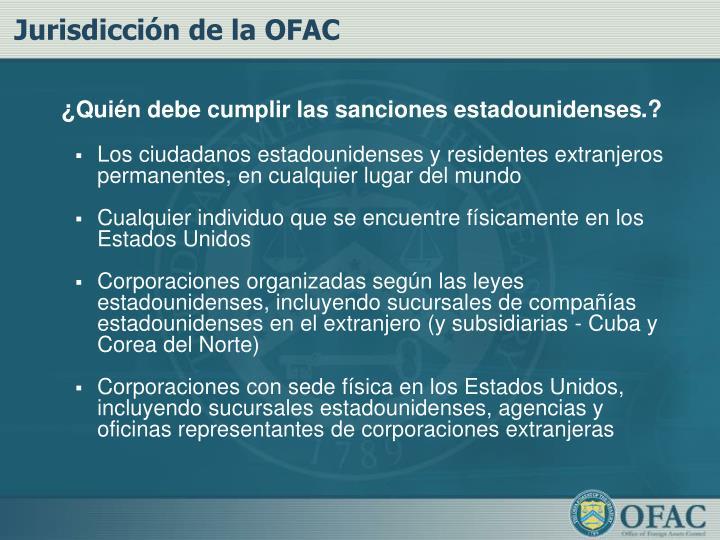 Jurisdicción de la OFAC