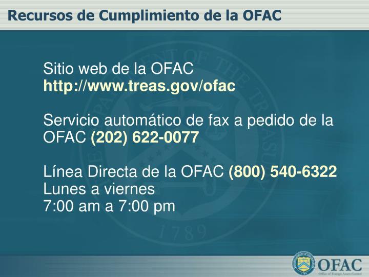 Recursos de Cumplimiento de la OFAC