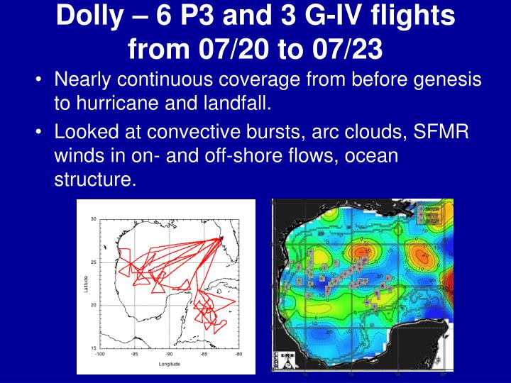 Dolly – 6 P3 and 3 G-IV flights from 07/20 to 07/23
