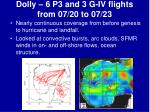 dolly 6 p3 and 3 g iv flights from 07 20 to 07 23