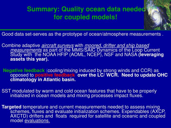 Summary: Quality ocean data needed