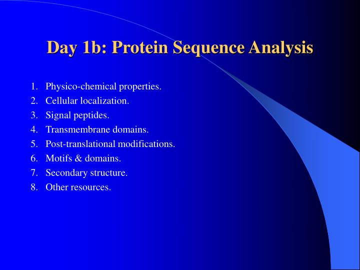 Day 1b protein sequence analysis