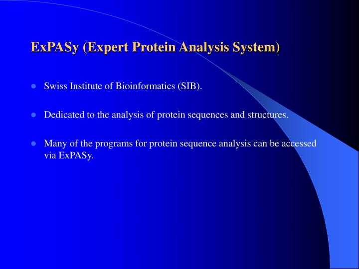 ExPASy (Expert Protein Analysis System)