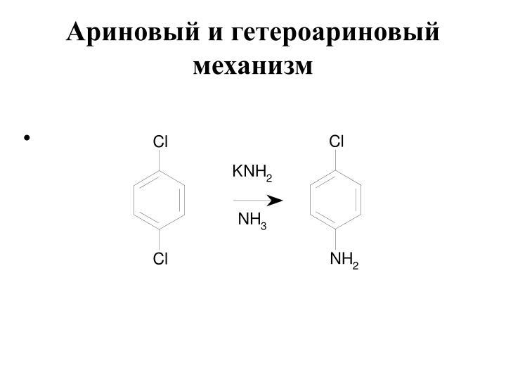 Ариновый и гетероариновый механизм