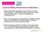 level of need performance indicators