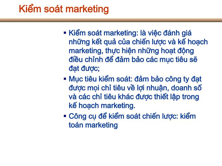 Kiểm soát marketing