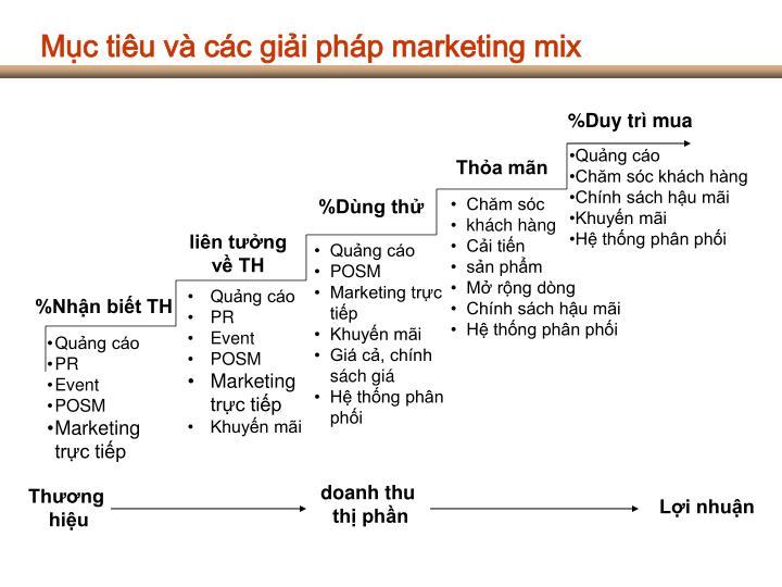 Mục tiêu và các giải pháp marketing mix